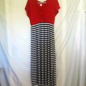 Sz 2X Red wrap front maxi dress flirty pink